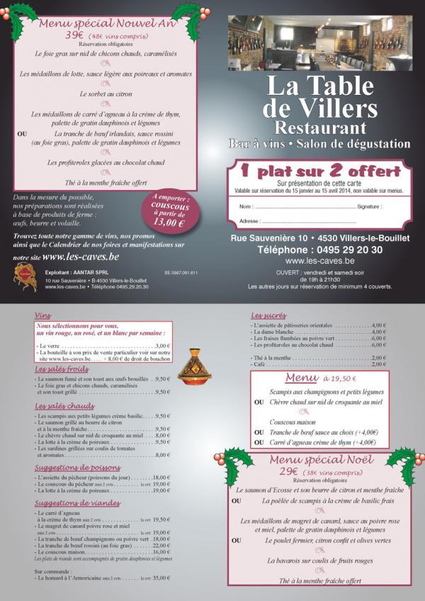 Wine les la for Table 52 menu